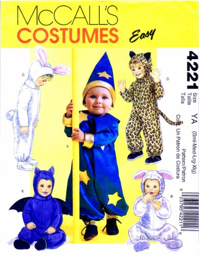 McCall's 4221 Sewing Pattern Infants Sorcerer Lamb Bunny Cat Bat Costumes Small - Extra Large]()