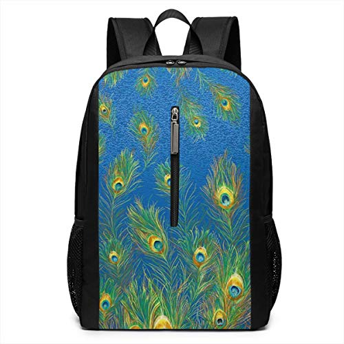 Peacock Feather Pattern Iconic Campus Backpack,Casual Daypack Backpacks 17 - Notepad Peacock Feathers