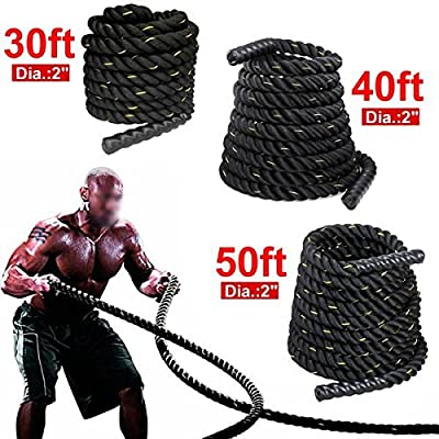 """Yaheetech 1.5''/2"""" 30ft 40ft 50ft& Battle Rope Strength & Core Training Poly/FDY Undulation Workout Battling"""
