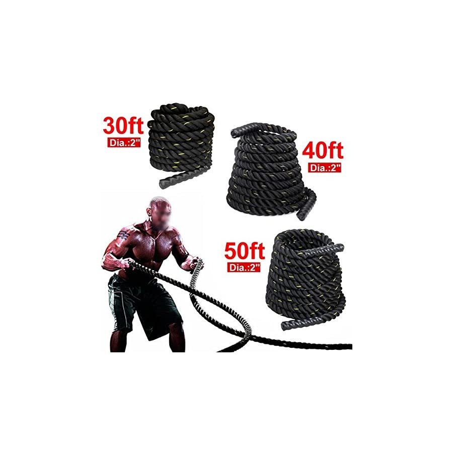 Yaheetech 1.5'' 40ft 50ft& Battle Rope Strength & Core Training Poly/FDY Undulation Workout Battling