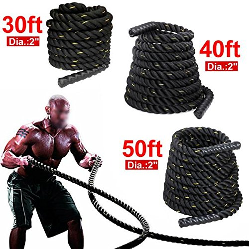 "Yaheetech 1.5''/2"" 30ft 40ft 50ft& Battle Rope Strength & Core Training Poly/FDY Undulation Workout Battling"