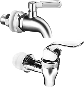 Set of 2, Beverage Dispenser Replacement Spigot, SourceTon Stainless Steel Spigot and Plastic Spigot, Dispenser Replacement Faucet