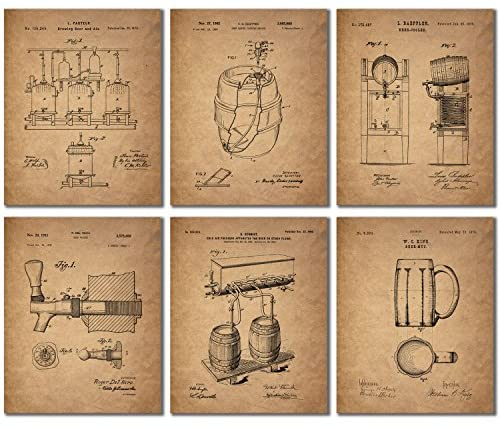 Beer Patent Wall Art Prints – Set of 6 (8 inches by 10 inches) Vintage Bar Photos