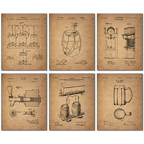 Beer Patent Wall Art Prints - Set of 6 (8 inches by 10 inches) Vintage Bar Photos
