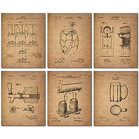 Beer Patent Wall Art Prints – Set of Six Vin...