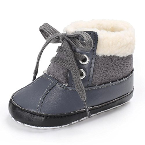 Clode® Baby Mädchen Jungen weichen Sole Leder Schnee Stiefel Warm Krippe Anti-Rutsch Kleinkind Schuhe Grau