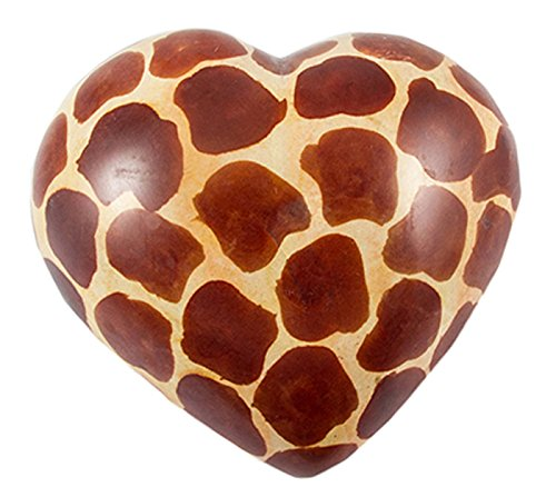 Maisha Hand Carved Fair Trade African Soapstone Hearts,Large Giraffe Print