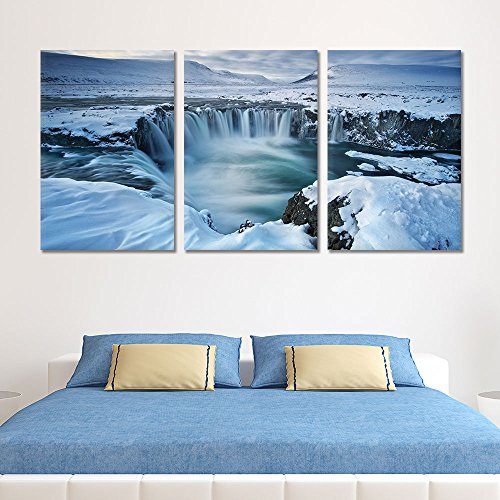 3 Panel Landscape Waterfall from Melted Snow x 3 Panels