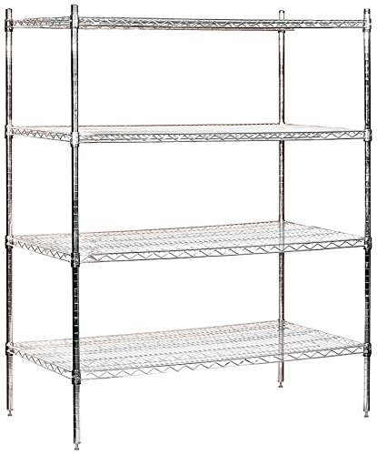 Salsbury Industries Stationary Wire Shelving Unit, 48-Inch Wide by 63-Inch High by 24-Inch Deep, (Chrome Plated Shelving Unit)