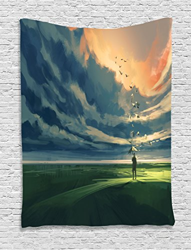 Ambesonne Abstract Tapestry, Man Holding an Umbrella Standing Alone in Meadow Cloudy Horizon, Wall Hanging for Bedroom Living Room Dorm Decor, 40