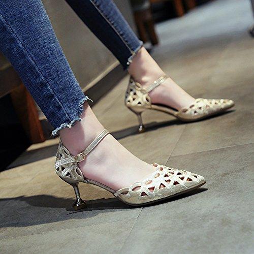 appuntita Moda alta estate YMFIE silvery tacco caviglia scarpe ed alla sandali trafitto lady cinturino con FwRZCqx
