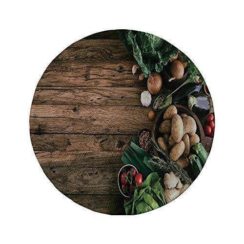 """Non-Slip Rubber Round Mouse Pad,Harvest,Various Vegetables on Rustic Wooden Table Onions Potatoes Zucchini Cherry Tomatoes Decorative,Brown Green,11.8""""x11.8""""x3MM"""