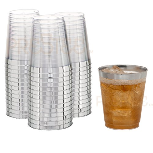 DRINKET Silver Plastic Cups 8 oz Clear Plastic Cups/Hard Tumblers Fancy Plastic Wedding Cups With Silver Rim 50 Ct Disposable For Party Holiday and Occasions SUPER VALUE PACK