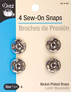 Dritz Sew-On Snaps, Size 4 - Nickel plated Brass - 4 Ct.