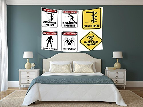 iPrint Polyester Tapestry Wall Hanging,Zombie Decor,Warning Signs for Evil Creatures Paranormal Construction Do Not Open Artwork,Multicolor,Wall Decor for Bedroom Living Room Dorm by iPrint