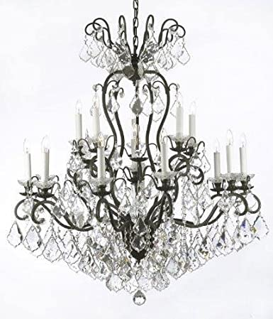 Wrought iron crystal chandelier lighting w38 h44 crystal and wrought iron crystal chandelier lighting w38quot aloadofball Gallery