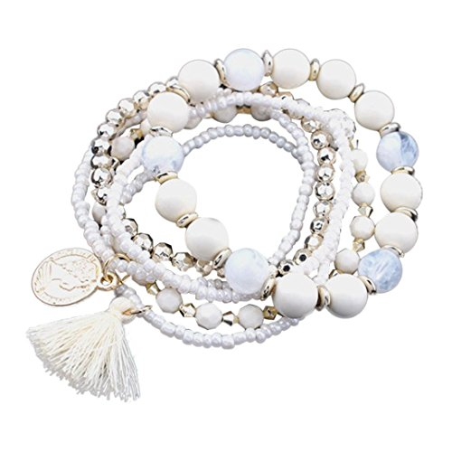 Gyoume Women Colorful Hand Chain Bracelet Jewelry Stretch Acrylic Beaded Bohemian Bracelet Lady Bracelet Bangle (A, White)