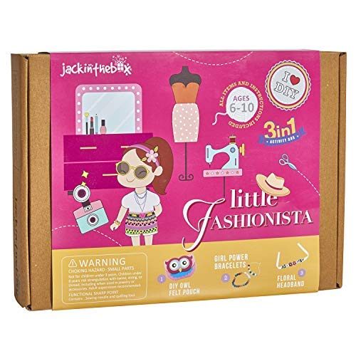 jackinthebox Art Craft Kit Girls | Fashion Themed Creative 3 Activities-in-1 DIY Toy | Best Gift Girls Ages 5 6 7 8 9 10 Years Old (3-in-1)