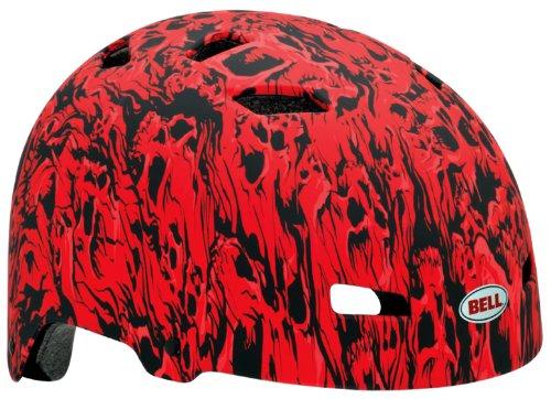 Bell Injector CHILD Bike Helmet, Matte Red Skull Stream (Sports Bicycle Bell Skull Helmet)