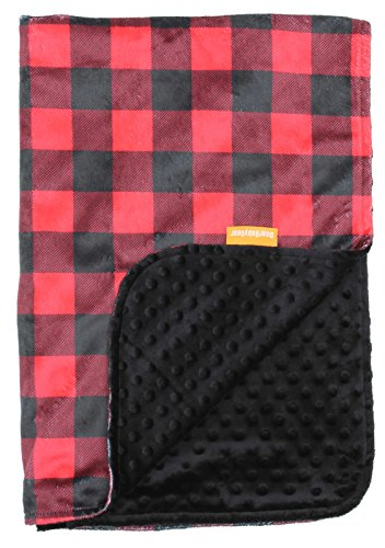 Dear Baby Gear Deluxe Baby Blankets, Custom Minky Print Red and Black Buffalo Plaid, Black Minky Dot