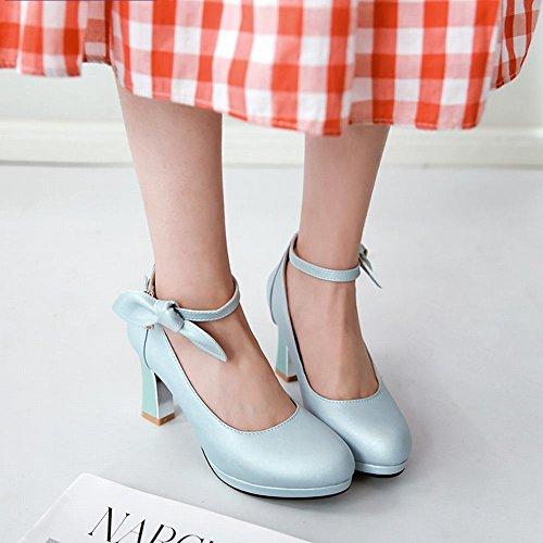 Carolbar Mujeres Bows Tobillo-correa De Tacón Alto Dulce Vestido De Novia Zapatos Azul