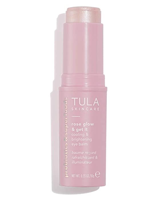 TULA Probiotic Skin Care Rose Glow & Get It Cooling & Brightening Eye Balm | Dark Circle Under Eye Treatment, Instantly Hydrate and Brighten Undereye Area, Perfect to Use On-the-go | 0.35 oz