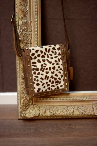 Print Cross Bag Cheetah Leather Messenger Body Print Real Animal aqtYE