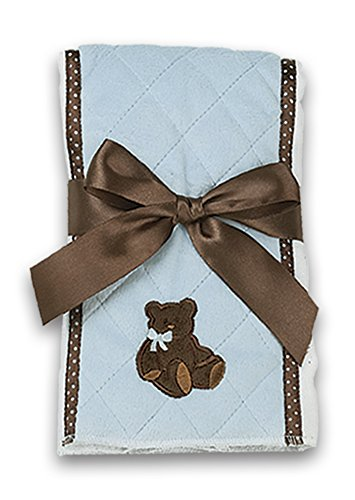 Bearington Baby Posh Dots Blue Teddy Bear Burp Cloth, 14