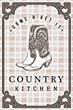 Country Kitchen - Cowboy Boots on Plaid (12x18 Gallery Quality Metal Art)