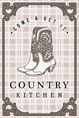 Country Kitchen - Cowboy Boots on Plaid (12x18 Gallery Quality Metal Art) by Lantern Press