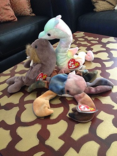 Ty Beanie Babies Ocean Theme Lot - All Have Tags Ocean Theme Lot Includes: Neon Claude (Ty Beanie Babies Trading Cards)