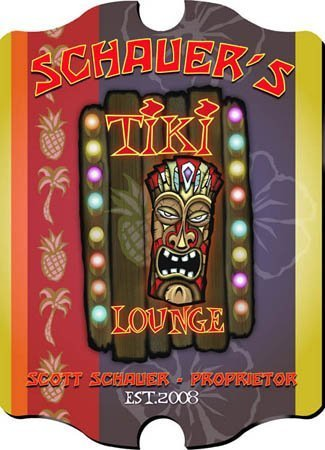 Personalized 15.5 Tiki Tropical Imagery - Collectible Vintage Series Vertical Tavern, Bar, Lounge, Pub Sign by Creative Structures