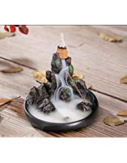 Waterfall Backflow Incense Burner Holder Mountain Tower Resin Incense Holders with 20 Backflow Incense Cones + 10 Incense Stick for Home Office Yoga Aromatcherapy Ornamen (Backflow Incense Holder-3)