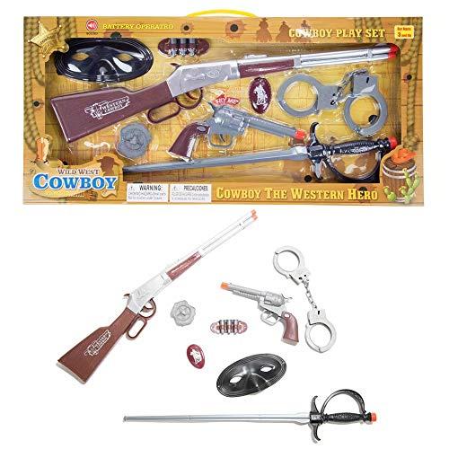 ECCRIS Toys Gun Toy Gun Cowboy Wild West Set Rifle Playset with Sounds & Light -