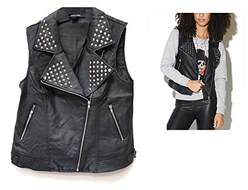Womens Black Leather Vest (Wet Seal Womens Long Studded Faux Leather BLACK Punk Rock Biker Moto Vest)