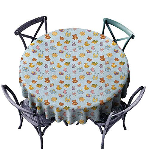VIVIDX Fashions Table Cloth,Baby,Newborn Sun Teddy Bear Ribbon Feeder Pacifier Chick Kitty Cat Design,for Events Party Restaurant Dining Table Cover,43 INCH,Pale Blue Cinnamon Apricot ()