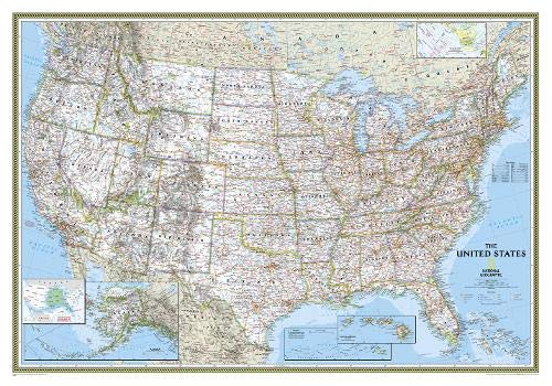 National Geographic: United States Classic Wall Map (43.5 x 30.5 inches) (National Geographic Reference Map) (Road Large Map States United)