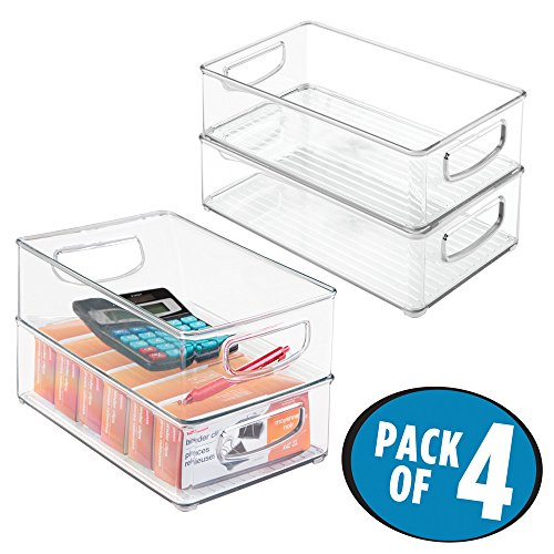 mDesign Office Supplies Desk Cabinet Organizer Bin for Pens, Pencils, Markers, Highlighters, Tape - Pack of 4, Medium, Clear