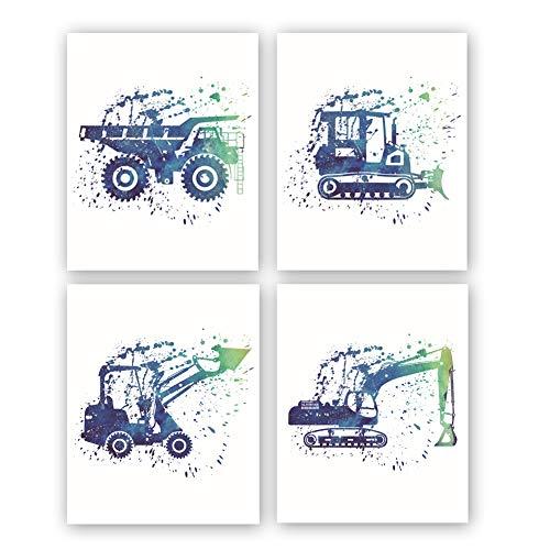 HPNIUB Cartoon Excavator Art Print Watercolor Construction Prints Set of 4 (10