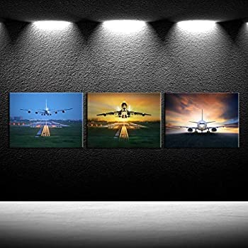 iKNOW FOTO 3 Piece Canvas Wall Art Airplane Take Off Pictures Framed Artwork Aircraft Poster Art Prints for Office Home Decoration Plane Artwork Ready to Hang 12x16inchx3pcs