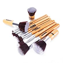 WIMKEN 11pcs Professional Makeup Cosmetic Brush Set Foundation Powder Bamboo Brush with Bag