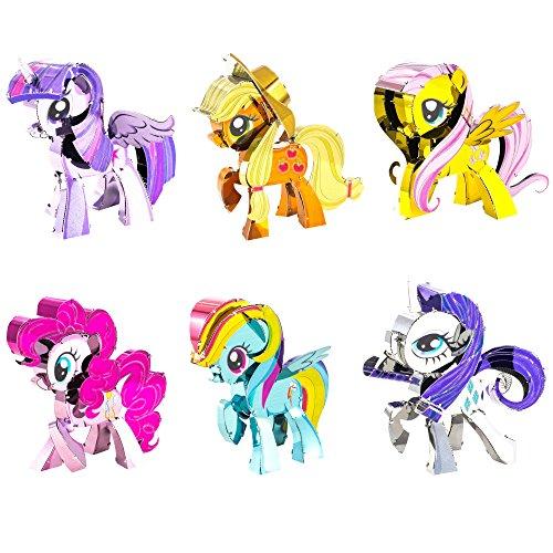 Rainbow Earth - Fascinations Metal Earth 3D Metal Model Kits My Little Pony Complete Set of 6 Applejack - Fluttershy - Pinkie Pie - Rainbow Dash - Rarity - Twilight Sparkle