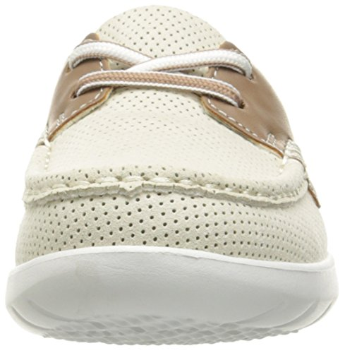 CLARKS Womens Jocolin Vista Boat Shoe, Off White Perforated Textile, 12 Medium US