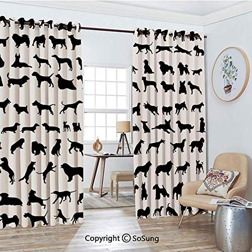 Thermal Insulated Blackout Patio Door Drapery,Silhouettes Different Breeds