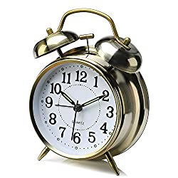 Peakeep 4 Twin Bell Alarm Clock Backlight, Battery Operated Loud Alarm Clock (Bronze)