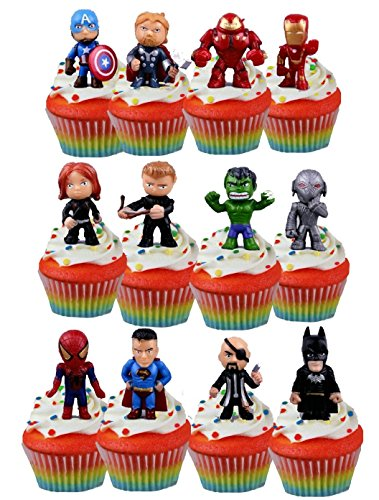 Price comparison product image 24 Superhero Avenger Figure Cupcake Toppers