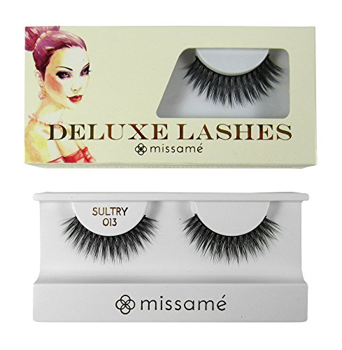 Missamé SULTRY Deluxe Beauty False Eyelashes Set Handmade with Premium Synthetic Fibers, Black, 1 Pair (Sultry Costumes)
