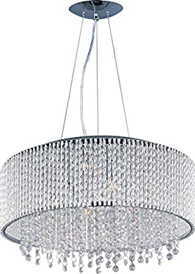 Deluxe Lamp 6 Light Drum Round Shade Spiral Crystal Chandelier Dia 19''