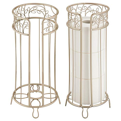 mDesign Decorative Free Standing Toilet Paper Holder Stand with Storage for 3 Rolls of Toilet Tissue - for Bathroom/Powder Room - Holds Mega Rolls - Durable Metal Wire Design, 2 Pack - Pearl Champagne