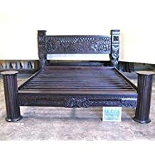 Tribal Carved Pillar Bed by Worldcraft Industries, Eastern King